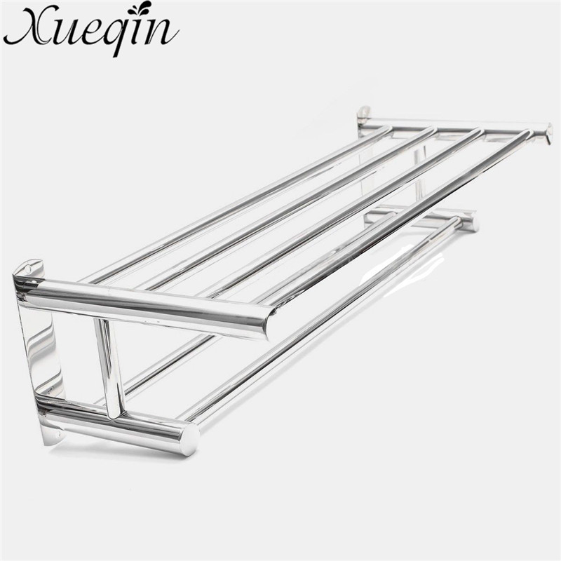 Towel Racks Wall Mounted Bathroom Towel Double Stainless Steel Rail Holder Shelf Storage Rack Bar Bathroom Tools high quality silver stainless steel wall mounted kitchen bathroom double bar rack double towel bar