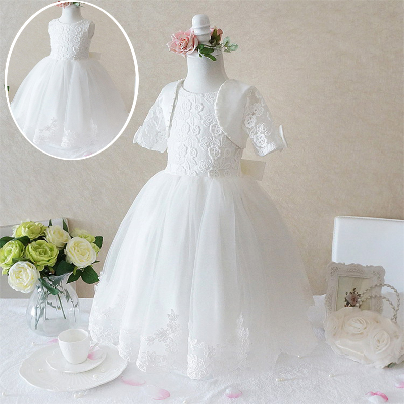 2016 Princess Lace Christening Gown White Dresses For Girls For Wedding Frocks Baptism Birthday Party Kids Girls Clothes Size 8