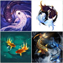 Canvas Diamond Painting Lucky Koi Fish Kits Embroidery Full Square Drill Home Decorations Mosaic Bead Cross Stitch Adults Crafts