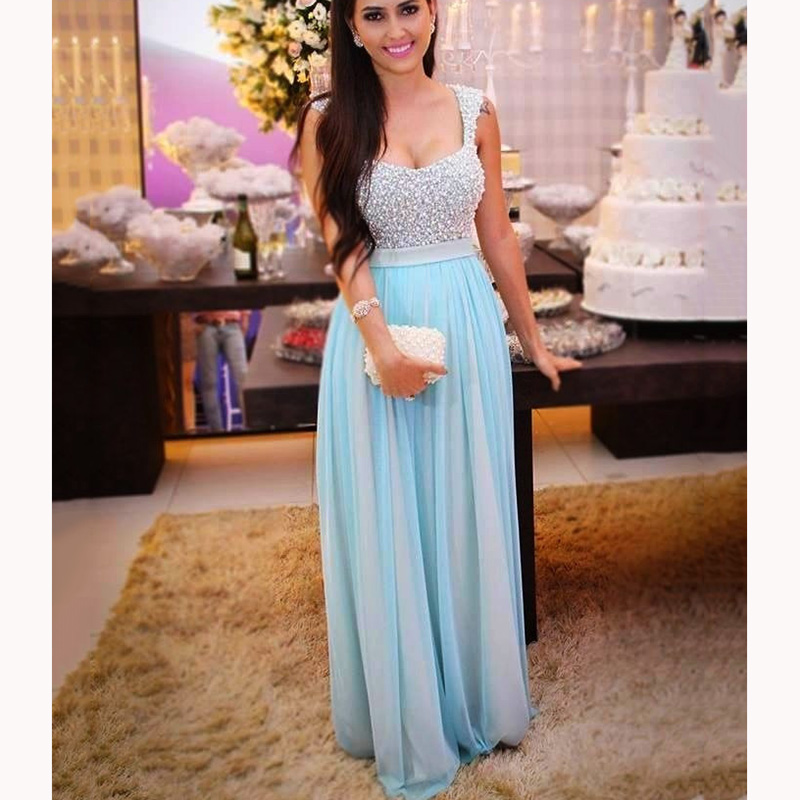 Trust LinDa Glamorous Blue Chiffon   Bridesmaid     Dresses   Cap Sleeve Crystal Beaded Party Wear   Dress   Custom Made Prom Gowns 2018