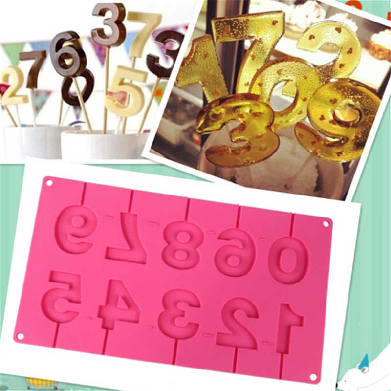 0-9 Numbers Shape Lollipop Silicone Mold 3D Hand Made Pop Sucker Sticks Chocolate Lollipop Mold With Sticks Party Decoration