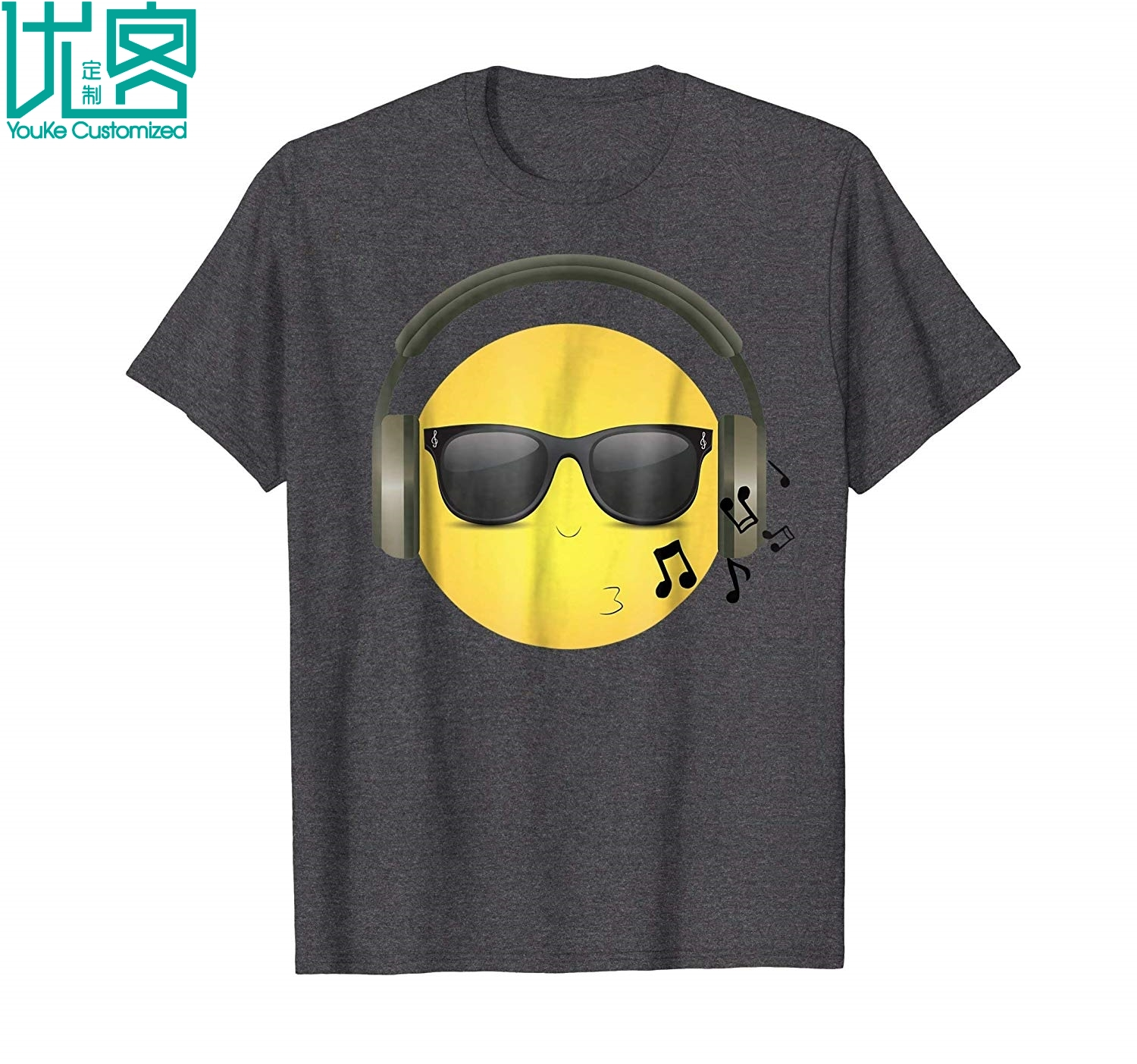Whistling Cool Emoji With Music Headphones Shades 2019 Summer Men's Short Sleeve T-Shirt