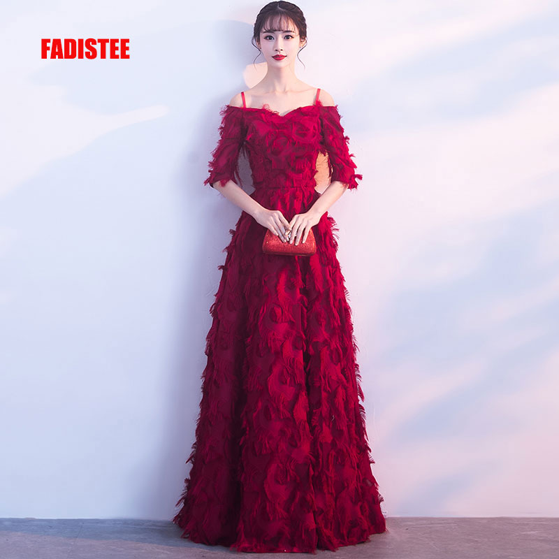 FADISTEE New arrival elegant long   dress   prom party   dresses   formal   dress   lace half sleeves simple Burgundy   evening     dress