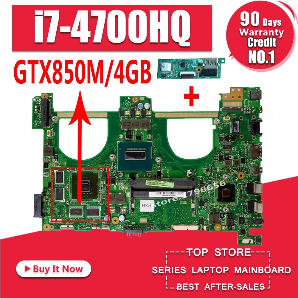 Enviar bordo + I7-4700HQ GTX850M 4GB N550JK Laptop motherboard para ASUS N550J N550JK N550JV Q550JV N550JX mainboard Motherboard
