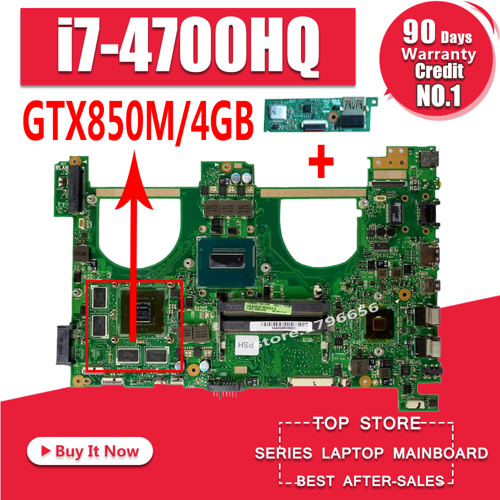 Enviar placa + I7-4700HQ gtx850m 4 gb n550jk placa-mãe do portátil para asus n550j n550jk n550jv q550jv mainboard n550jx