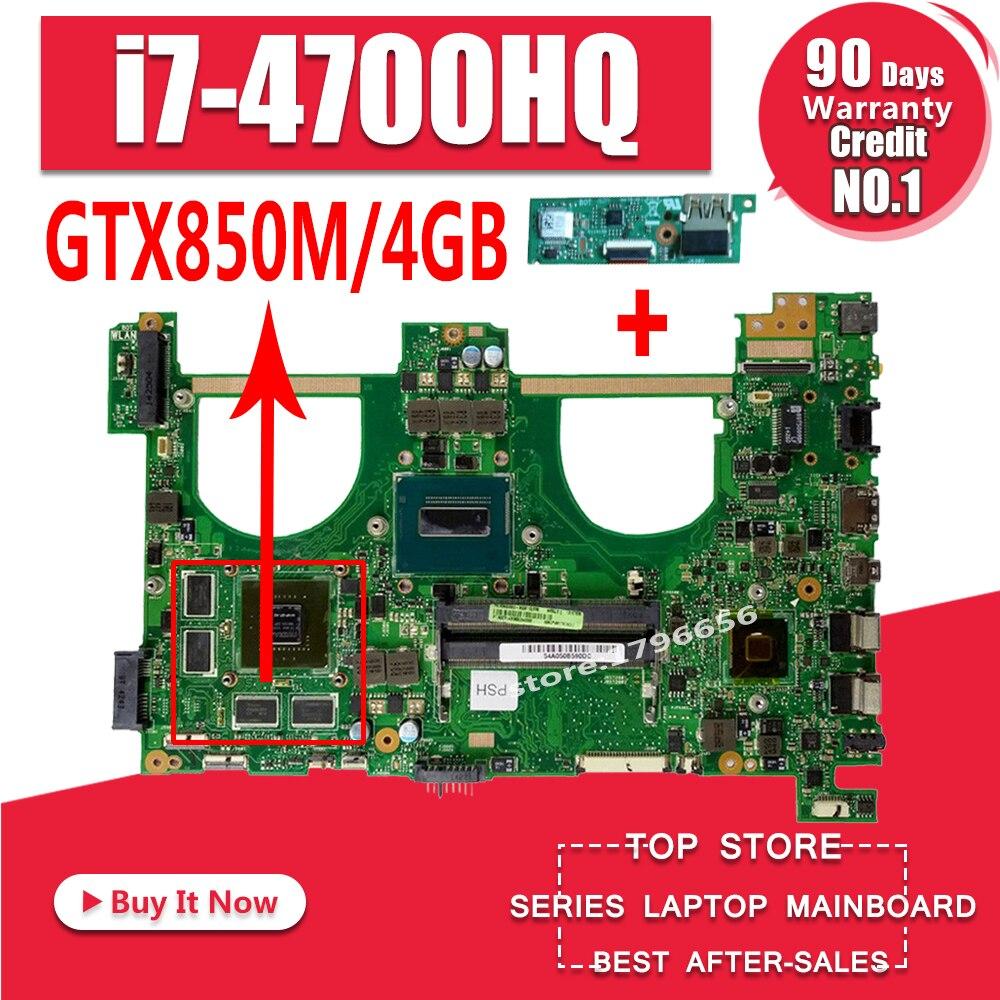 Envoyer conseil + I7-4700HQ GTX850M 4 gb N550JK mère D'ordinateur Portable pour ASUS N550J N550JK N550JV Q550JV carte mère N550JX Carte Mère