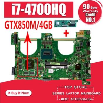 Send board+I7-4700HQ GTX850M 4GB N550JK Laptop motherboard for ASUS N550J N550JK N550JV Q550JV mainboard N550JX Motherboard