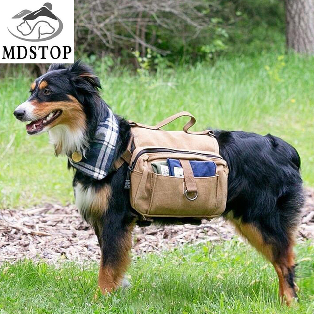 Drop Shipping Cotton Lightweight Dog Saddle Bag Rucksack For Medium Large Outdoor Hiking Camping Training