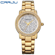 2016 New Fashion CRRJU Watch Women Dress Watches Rose gold Full Steel Analog Quartz Women Ladies Rhinestone Wrist watches