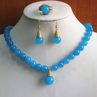 Free shipping Miss charm Jew.357 Charming Blue Precious Stone Necklace Earring Ring(7/8/9) Jewelry Set