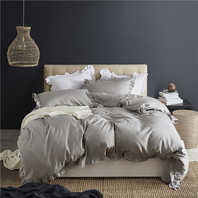 Gray Duvet Cover Set Lotus Leaf Edge 2/3pcs Twin/Queen/King Size Bedclothes Bedding Sets Home Hotel Use(no filling no sheet)