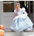 2017 Nova Meninas Vestidos de Crianças Branca de Neve Princesa Vestidos Rapunzel Cinderela Aurora Traje Do Partido Dos Miúdos Roupas Azuis Dos Desenhos Animados