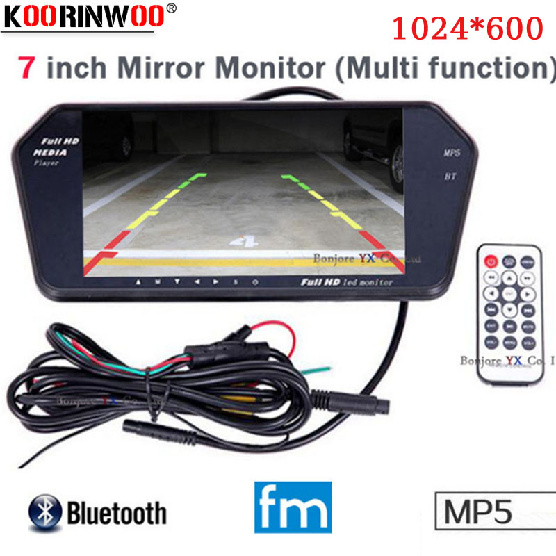 Koorinwoo High Resolution 1024x600 7 LCD TFT Car rear view Monitor Mirror Screen TF USB Slot Bluetooth MP5 Car Monitor For Car-in Car Monitors from Automobiles & Motorcycles    1