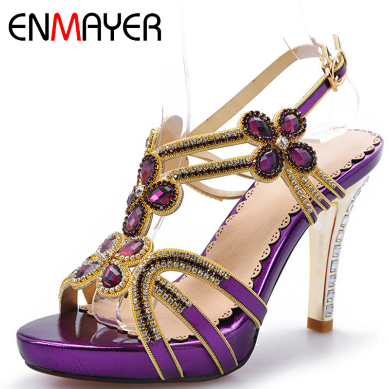 ФОТО ENMAYER Summer Sandals Sexy  Shoes 2 Colors Women Fashion Pumps Open Toe Shoes for Women High-heeled Sandals Party Shoes SALE