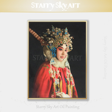 Top Artist Pure Hand-painted Quality Realist Peking Opera Oil Painting on Canvas Luxury Wall Art
