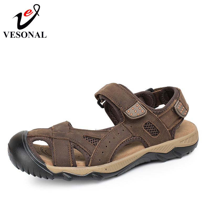 VESONAL Summer Style Genuine Leather Beach Casual Male Sandals Mesh Shoes For Men Walking Brand Quality Comfortable Sandal 2018