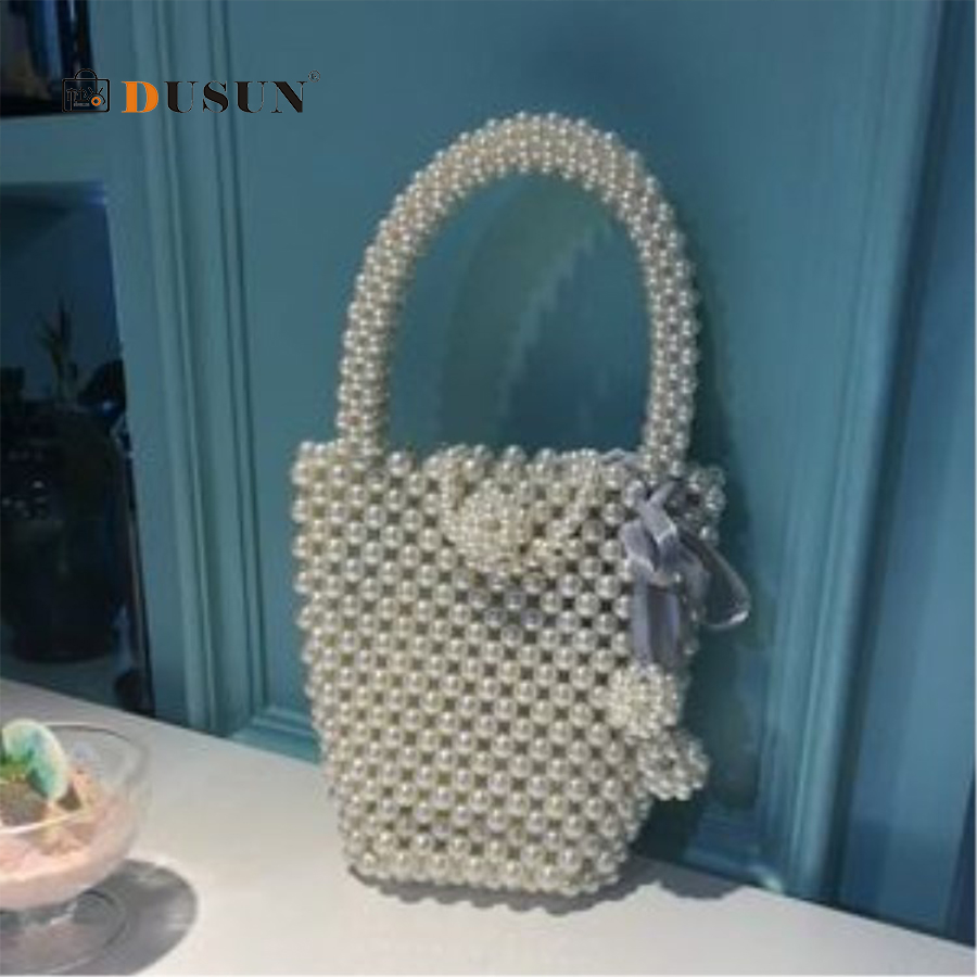 DUSUN Pearl Bucket Bag Design Women Bag Mini Pearl Phone Bag Pearl handbag Retro Handmade Beaded Woven Fairy Bag Bolsa Feminina недорго, оригинальная цена