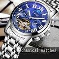 LIGE Мужская Moon Phase Tourbillon Механические Часы Мужчины Лучший Бренд Класса Люкс Полный Стали Часы Погружения Мужчины Бизнес Автоматические Часы