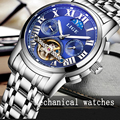 LIGE Mens Fase Da Lua Tourbillon Relógios Mecânicos Relógio de Homem de Negócios Dos Homens Top Marca de Luxo de Aço Cheio de Mergulho Relógios Automáticos