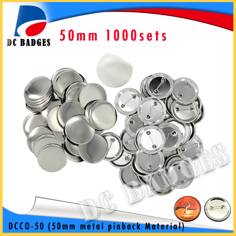 free 50 Free Shipping 2(50mm) 1000sets Metal Pinback Badge Button Material