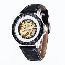 GOER марка мужская спорт Механические Наручные часы Кожа водонепроницаемый мужской Автоматический Световой Скелет цифровые Человеко часы