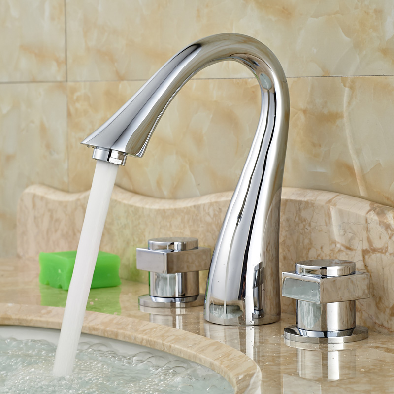 ФОТО Dual Handle Waterfall Spout Bathroom Basin Vanity Faucet Chrome Color Widespread Waterfall Spout