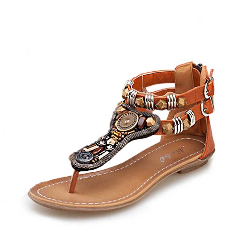 Xemonale Women Casual Shose Summer Beaded Beach Sandals Zipper Vintage Roma Gladiator Sa ...