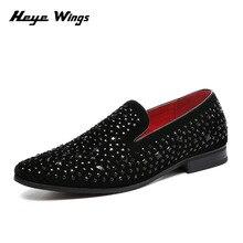 Heye Wings brand tredy style diamond loafers shoes men casual dress shiny