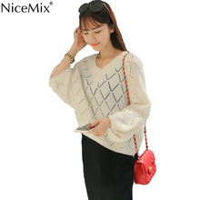 NiceMix 2017 Autumn Sexy Hollow Out Sweaters Women V-neck Knitted Pullover Elegant Flare Sleeve Ladies Top Female Knitwear