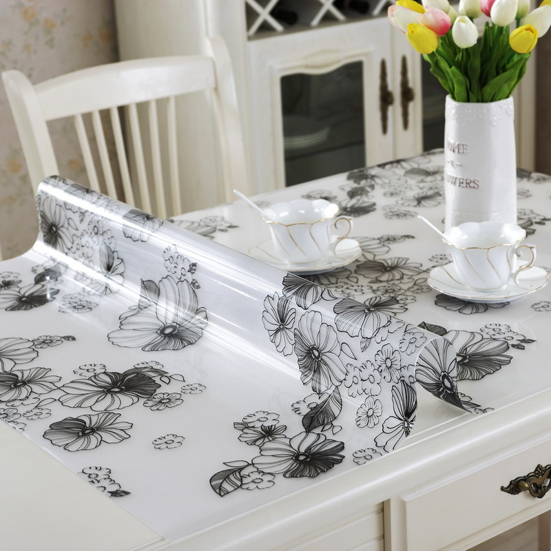 Lanweini Floral Clear Rectangular Transparent PVC Tablecloth Fabric Plastic Waterproof  Tablecloth Crystal Plate Soft Glass Table In Tablecloths From Home ...