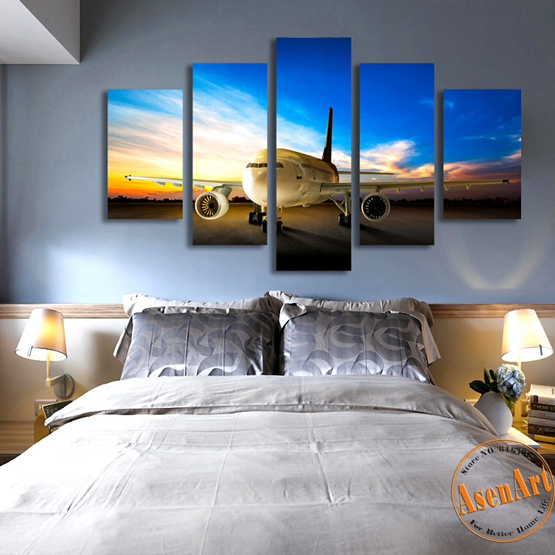 2016 print art 5 pieces airplane canvas painting modern for Decorative pieces for living room