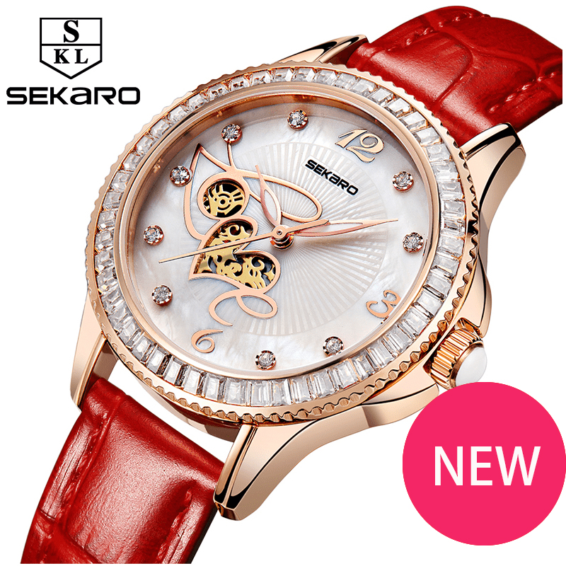 New SEKARO Watch Ladies Quartz Watch Woman LOVE Hollow Watch Fashion Brand Waterproof 30m Leather Belt Bracelet Table Rose Gold love heart hollow out bracelet watch