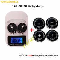 1ピース充電器+ 4PCSLIR2016、充電式lir2025 lir2032 lir2016 3.6ボルトボタン電池、led充電式ディスプレイ、usbインターフェース