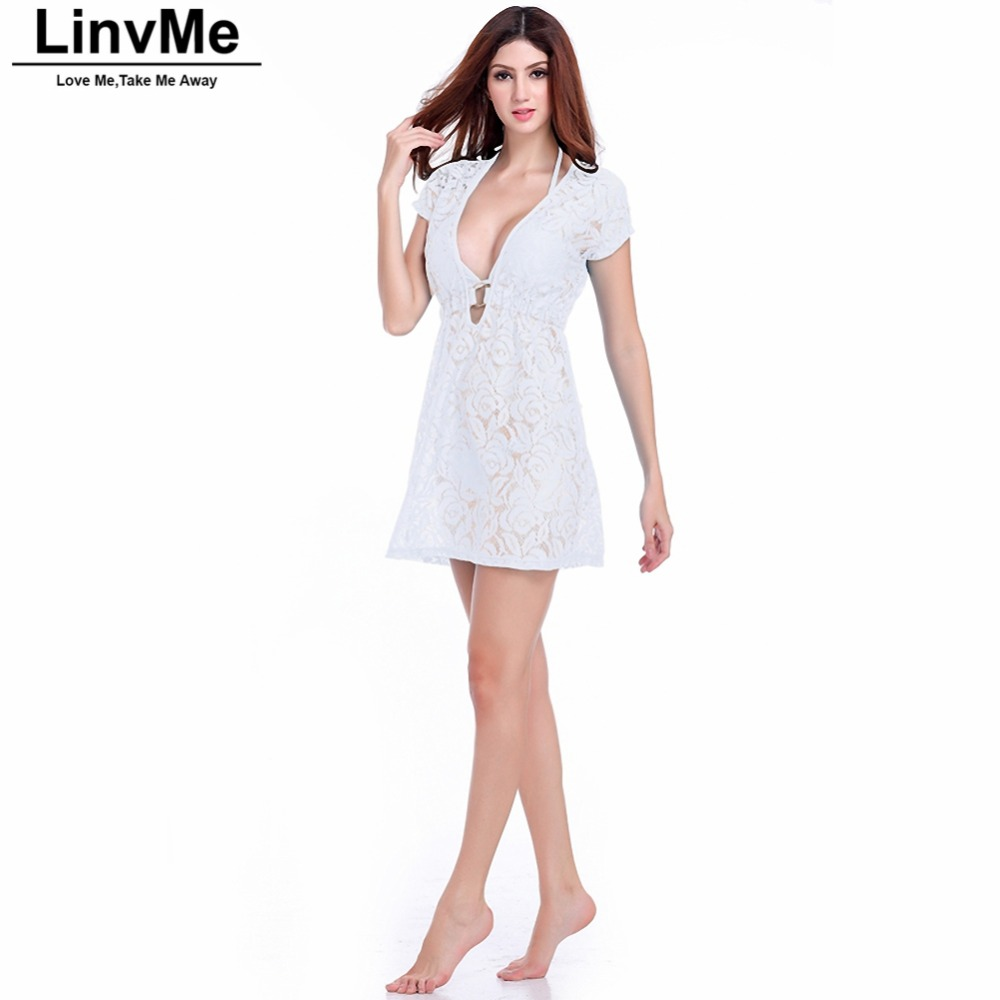 Linvme 2018 Lace Cover-ups Women Overskirt Beach Dress Cover Up Sexy Lacing Solid Color Beach Robe Tunic Sarong Bathing Suit