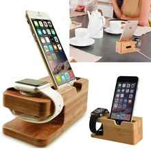 Watch Stand For iWatch/iPhone 7 6 6s Charging Holder Stand Natural Bamboo Wood Charge Station Charging Dock Cradle Stand Holders