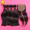 Шелковый База Закрытие С Связки Перуанский Девы Волос Прямо С Закрытием Короля RosaQueen Продукты Волос Перуанский Прямые Волосы
