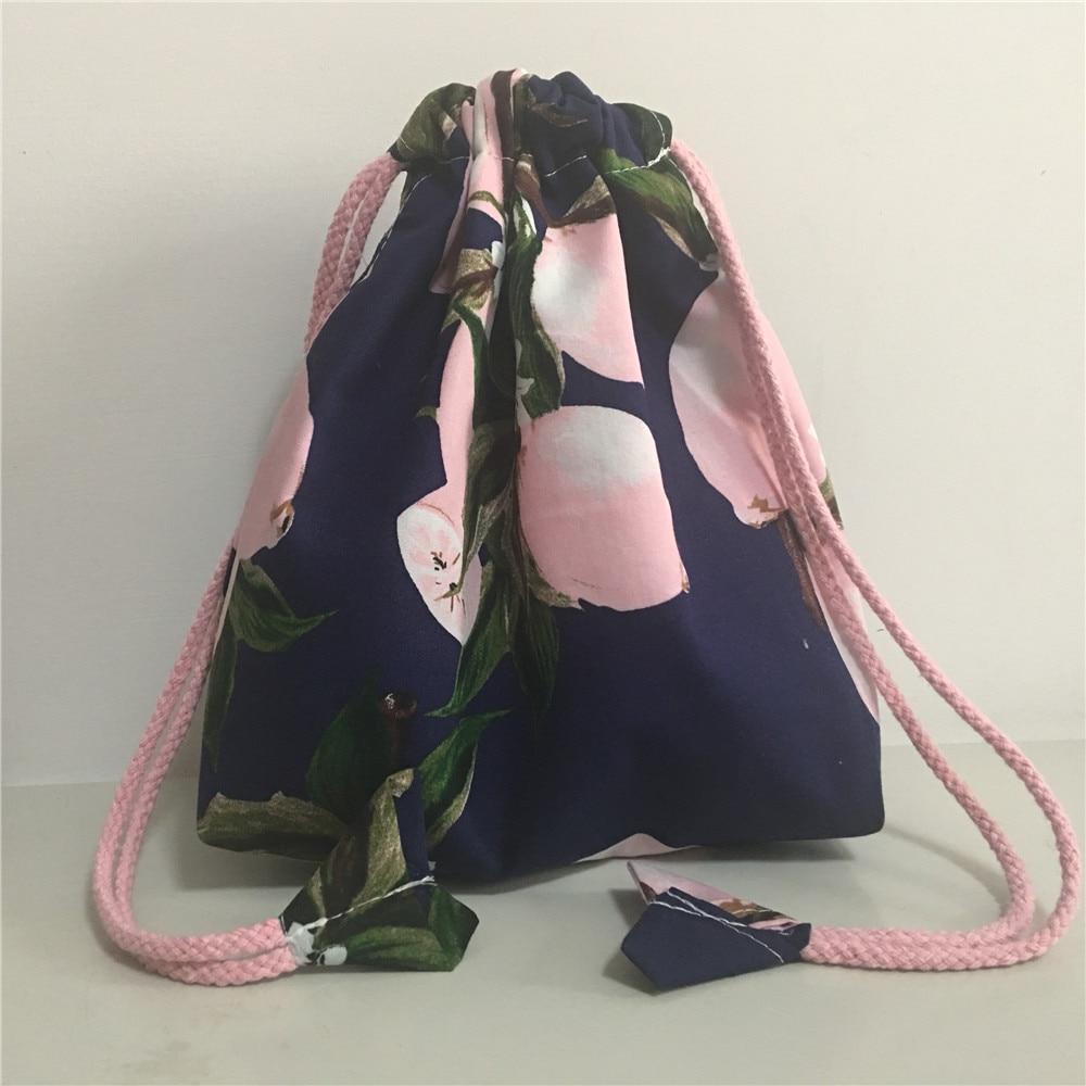 YILE Cotton Drawstring Pouch Phone Coin Key Bag Handbag Wrist Girl Bag Print Lemon 8609a