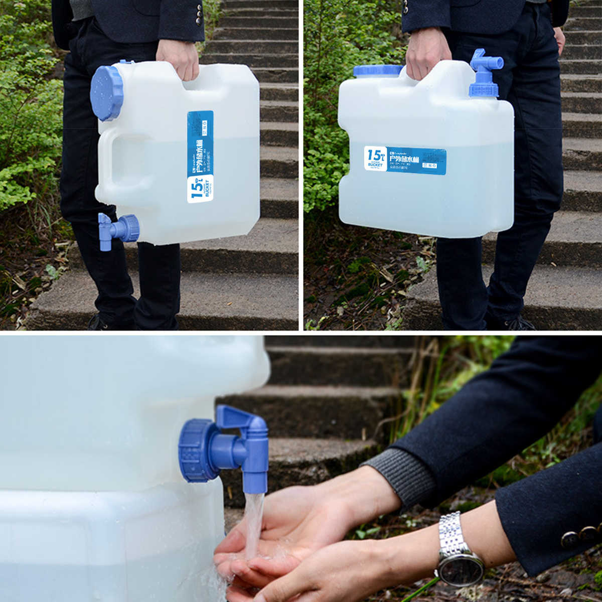 15L Container Hiking Camping Drinking Water Tank Storage Tap Bucket Bottle Carry