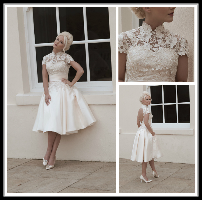 2015 Vintage Summer New White Or Ivory High Neck Lace