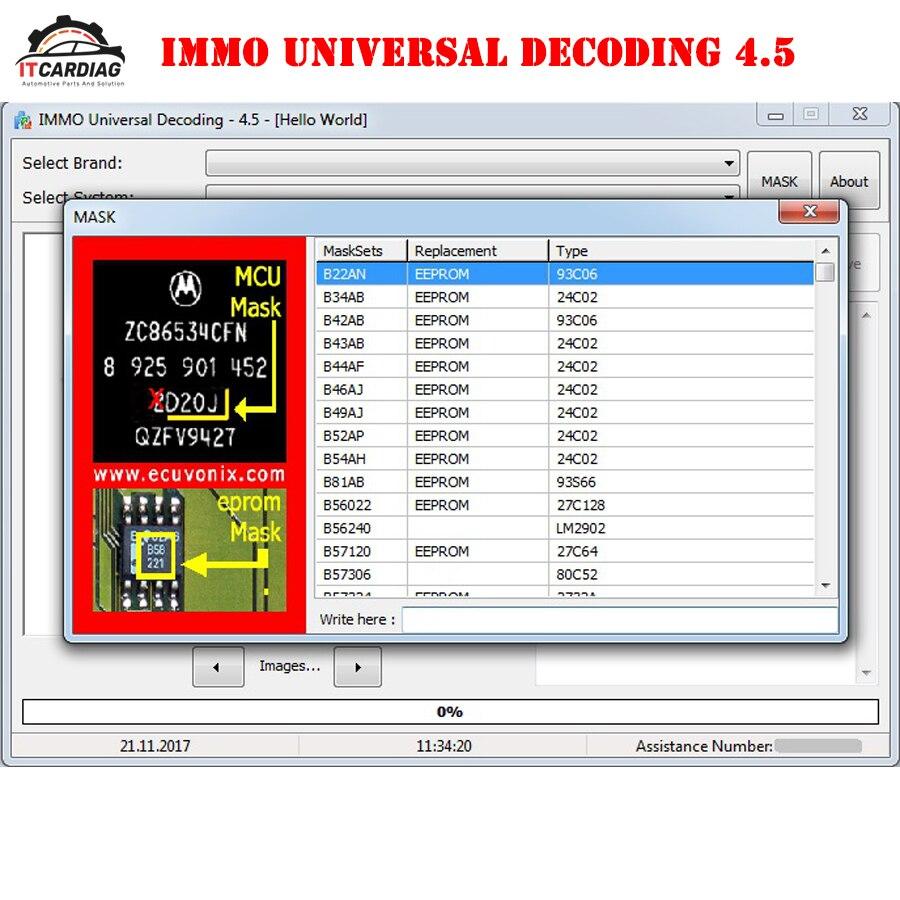 IMMO décodage universel 4.5 IMMO off logiciel supprimer IMMO Code de réparation ECU Code IMMO 1100 systèmes compatibles au-dessus de 10000 modèle