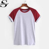 Sheinside Contrast Cuffed T-shirts Raglan Sleeve Basic Tee 2017 Heathered Women Casual Summer Tops Patchwork O Neck Cute T-shirt