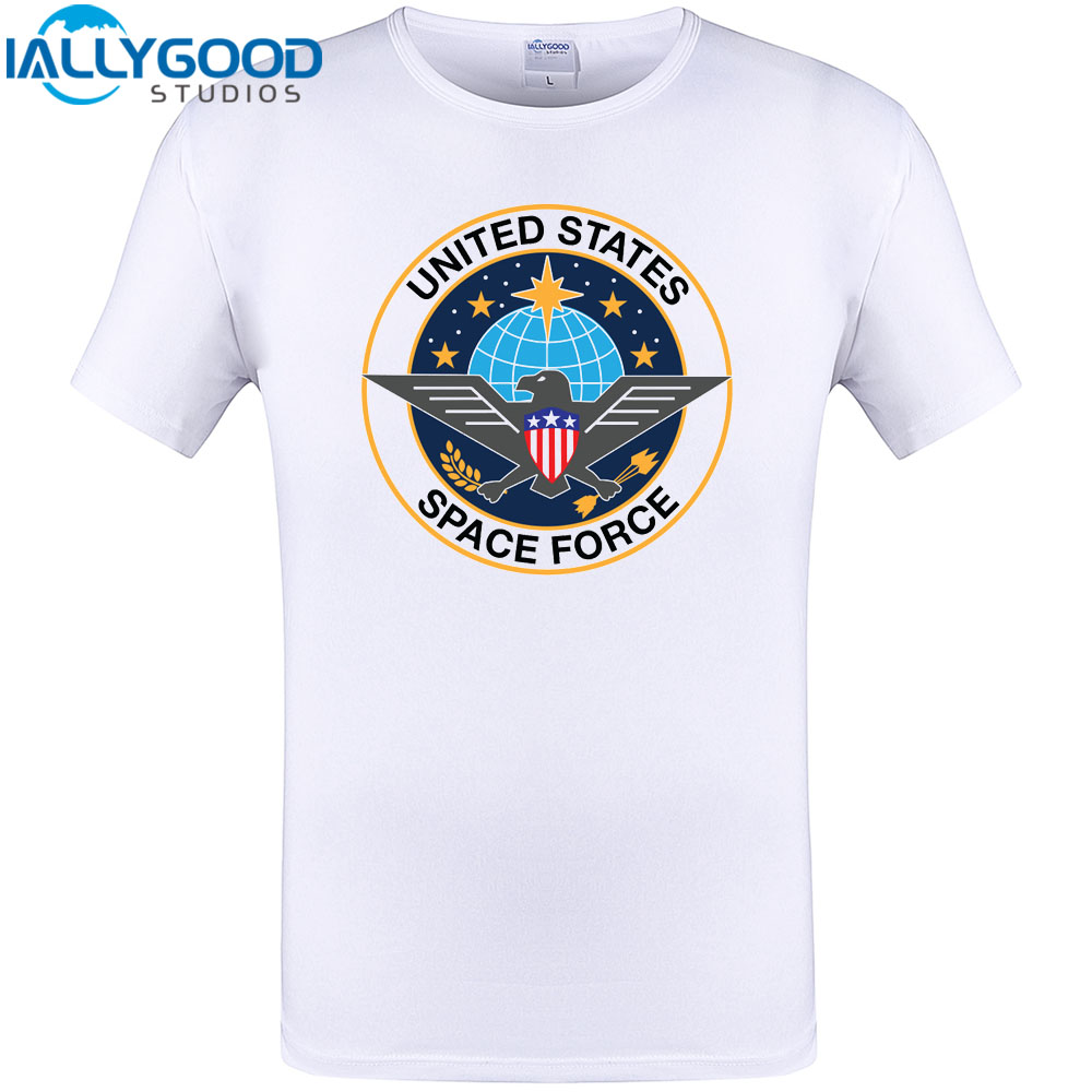 b8f8ba0a22e U.S. Space Force Emblem Cool Design T-Shirt Mens Funny Novelty Short Tops O-neck  White Casual Cotton Tee Shirts Plus Size S-5XL