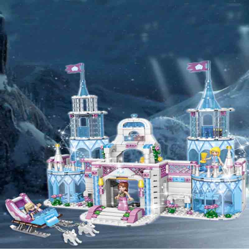 Dream Princess Castle Elsa Ice Castle Princess Anna Set Model Building Blocks Gifts Toys Compatible with Legoings Friends in Blocks from Toys Hobbies