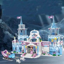 Dream Princess Castle Elsa Ice Castle Princess Anna Set Model Building Blocks Gifts Toys Compatible with Legoings Friends 203pcs friends vet clinic princess anna and kristoff s sleigh model set building blocks friends gifts toys princess