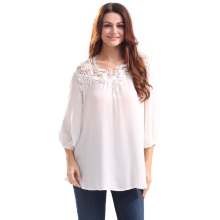 2017 Summer Autumn Women Casual Lace Spliced White Tussah Shirt Blouse Plus Size Fashion Loose Tussur Silk Chiffon Blouse