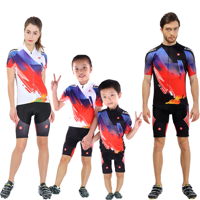 Family Parenting-Clothing Pro Team Summer MTB Bike Clothing Racing Sports Wear Women Bicycle Clothes Men Cycling Jersey Set Kids