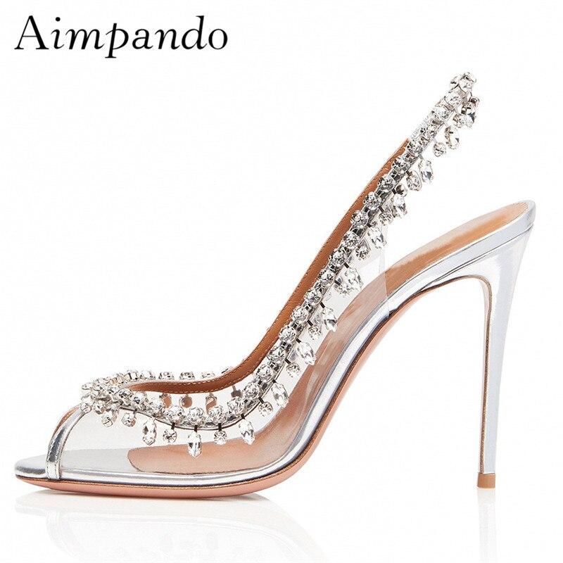 Sexy Peep Toe Crystal Summer Sandalias Mujer Clear PVC Transparent Slingback Stiletto Heel Jewelled Tassel Sandals