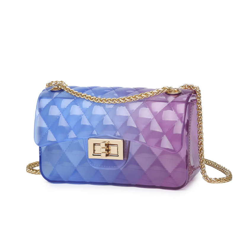 Summer Silica Gel Female Mini Chain Jelly Bag Women Diamond Lattice Small Flap Bag Girl Casual Clutch PVC Bag Shoulder Bags mini gray shaggy deer pvc quilted chain bag with cover real picture