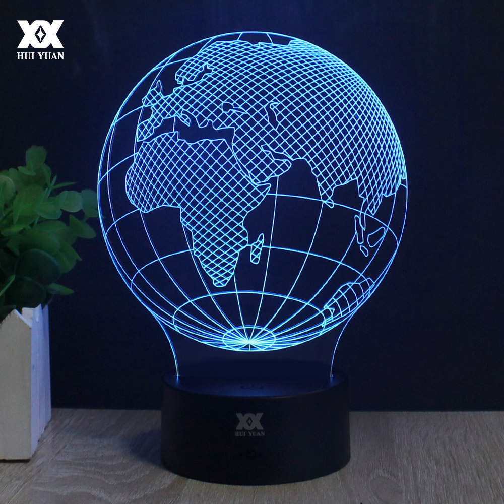 European Globe Shape 3D Lamp LED Remote Control Night Light USB Desktop Decorative Table Lamp Interesting Gift HUI YUAN Brand image