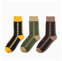 200 Needles Business Gentleman Men S Socks Ethnic Geometric Boneless Socks Combed Cotton Socks Large Size